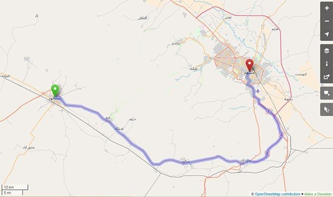 فاصله نیشابور تا مشهد